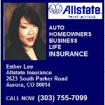 Allstate Insurance Agent Esther Lee in Colorado can help protect you, your family and your automobile. Insurance and financial products ... 2623 South Parker Road  Aurora, CO 80014 (303) 755-7099